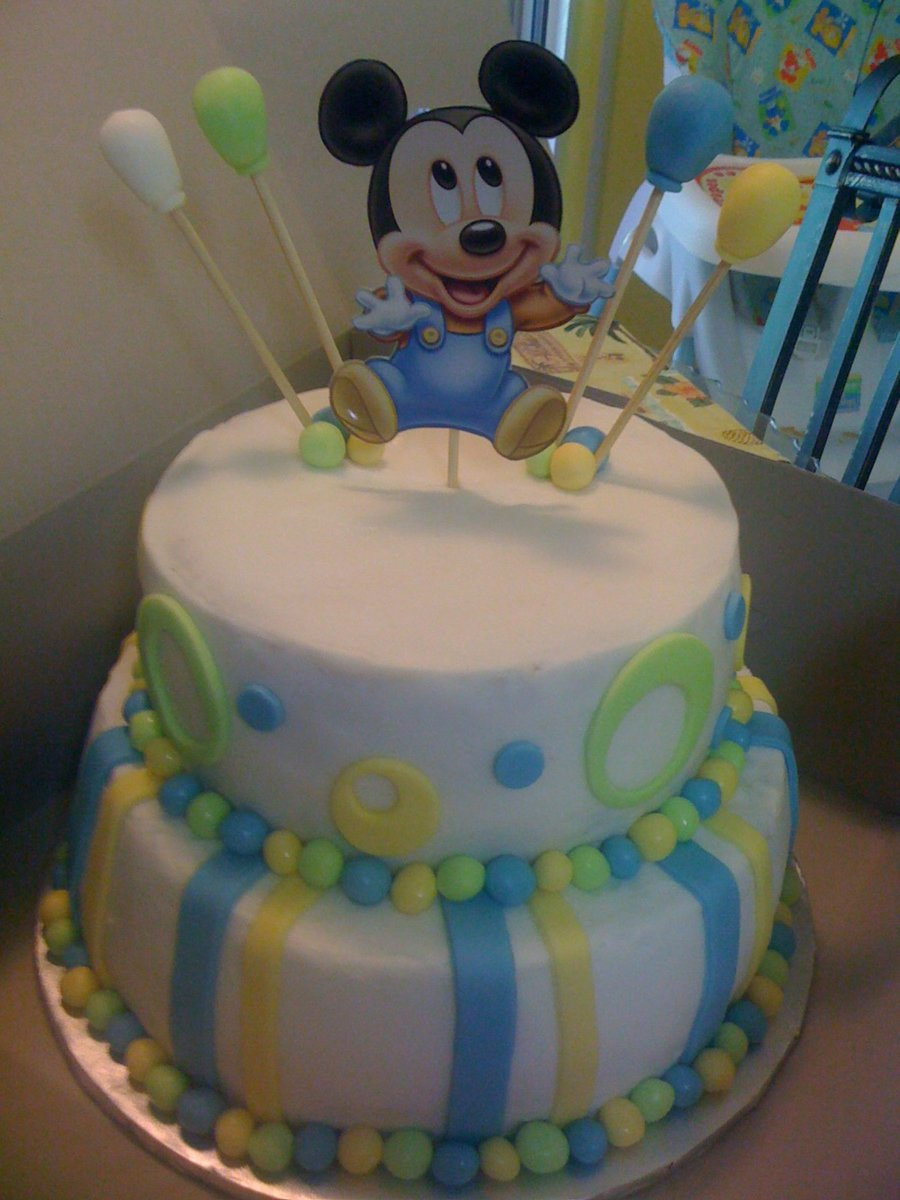 Baby Blue Mickey Mouse Cake