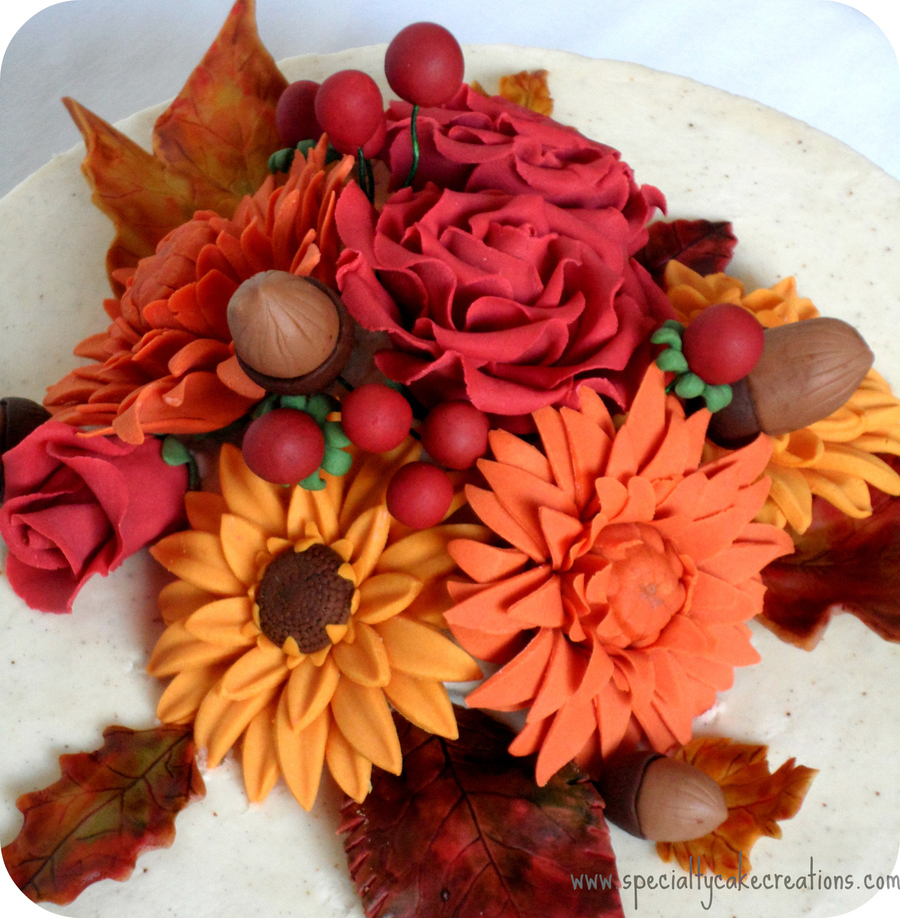 Fall Flowers Anniversary Cake