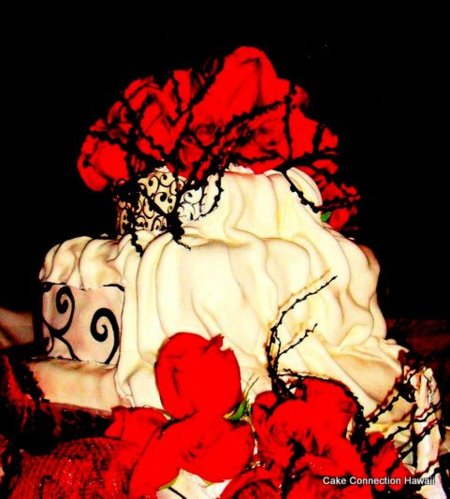 Three Tier Red Velvet Cake With Cream Cheese Frosting Covered With Ivory Fondant Draping Effect Black Design Squirls Matching The Bride on Cake Central