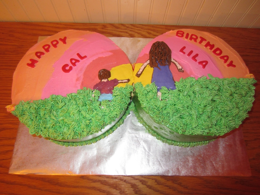 "Sibling ""sunset"" Cake on Cake Central"