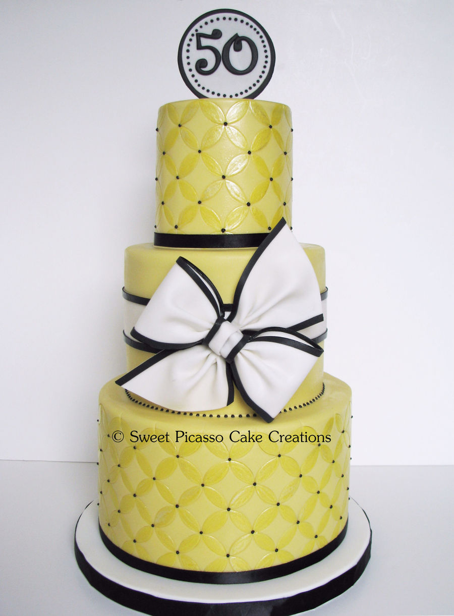 Modern Yellow Circles  on Cake Central