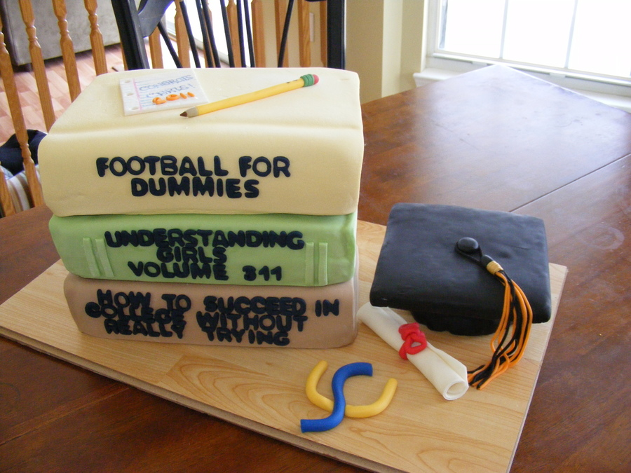 Stacked Book Graduation Cake
