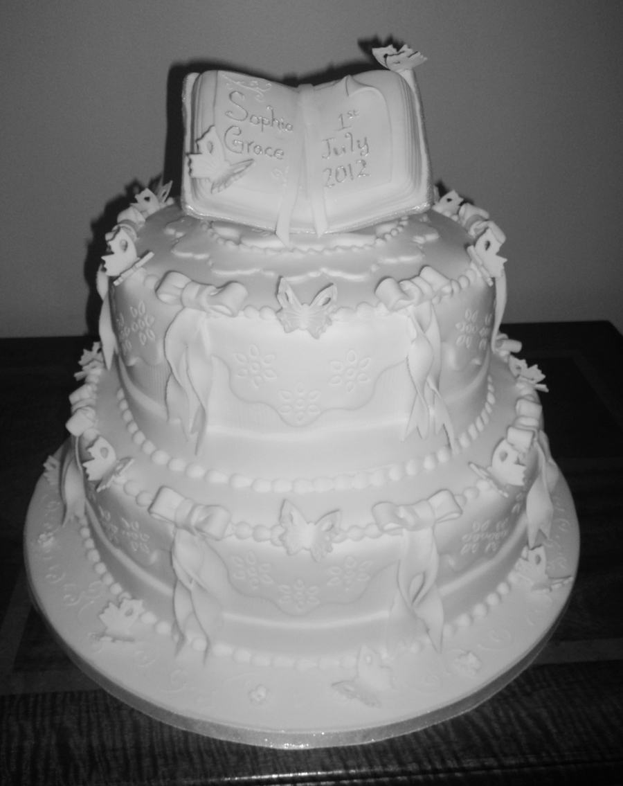 White Traditional Christening Cake - CakeCentral.com