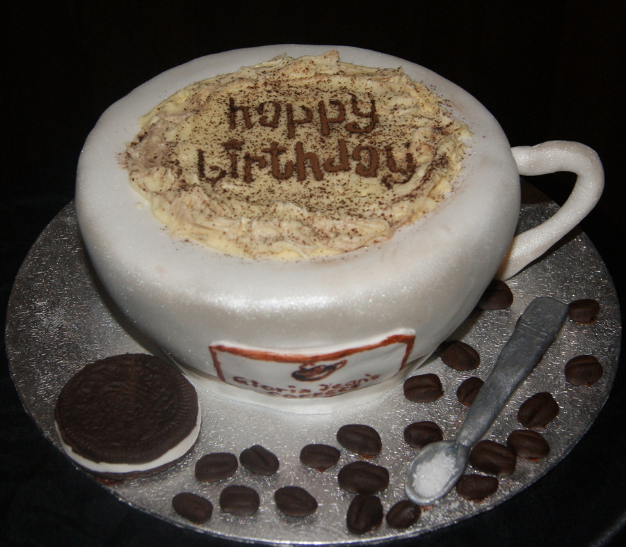Cappucino Coffee Cup Birthday Cake on Cake Central