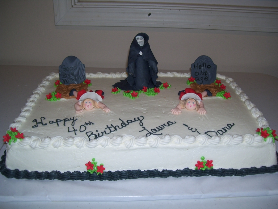 One Foot In The Grave For Twins on Cake Central