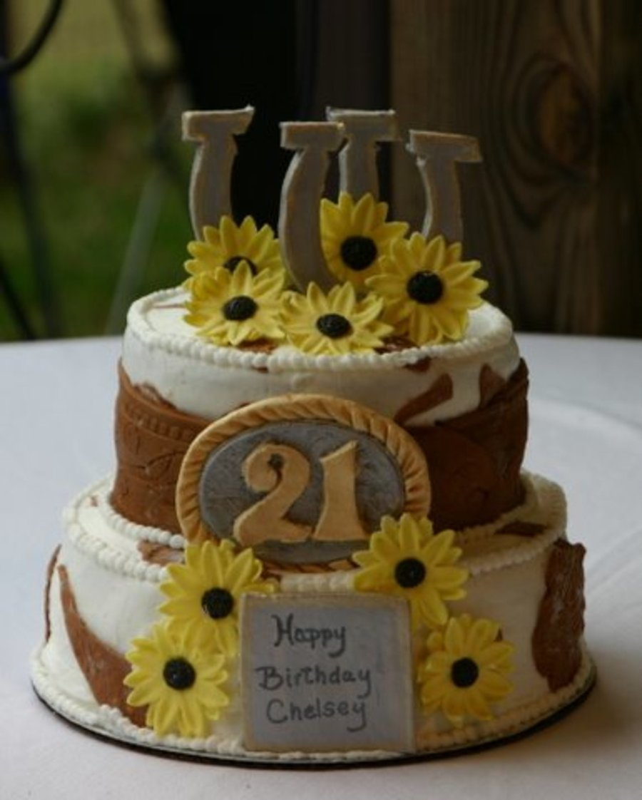 21St Birthday Western Themed Cake  on Cake Central