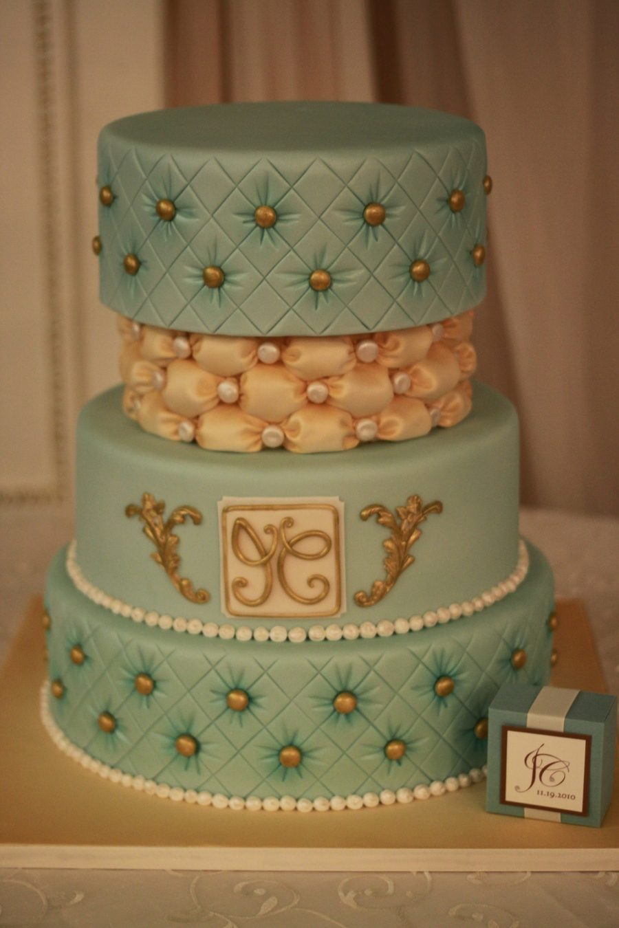 Teal And Ivory Wedding Cake on Cake Central