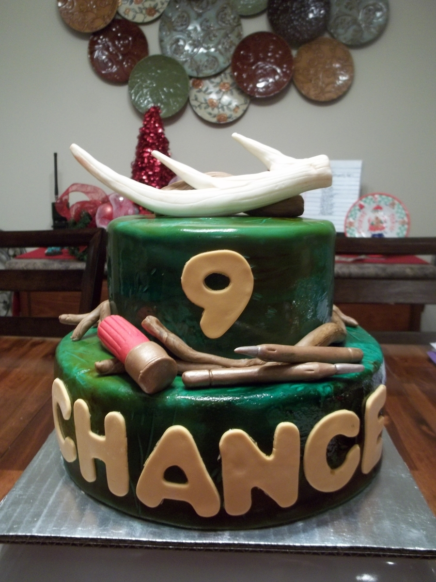 This Cake Was For A Young Man Turning Nine He Loves Deer Hunting And Got His First Fall The Antler Looks Like One Of Antlers On