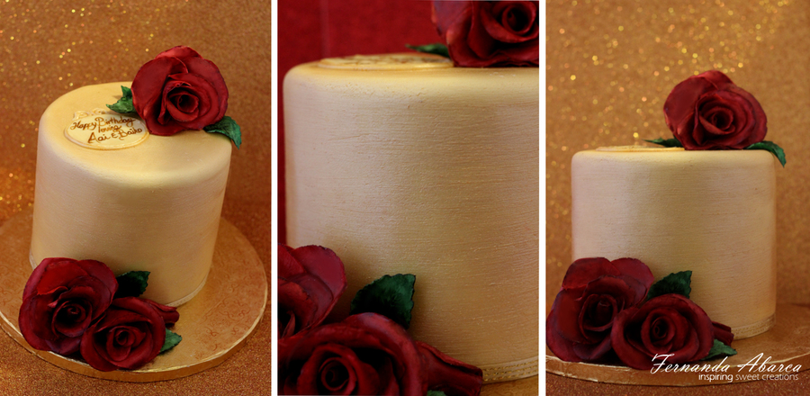 Gold Rose Cake  on Cake Central