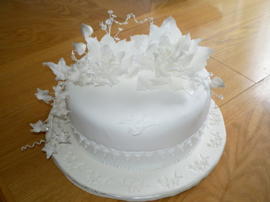 White Winter Cake. on Cake Central