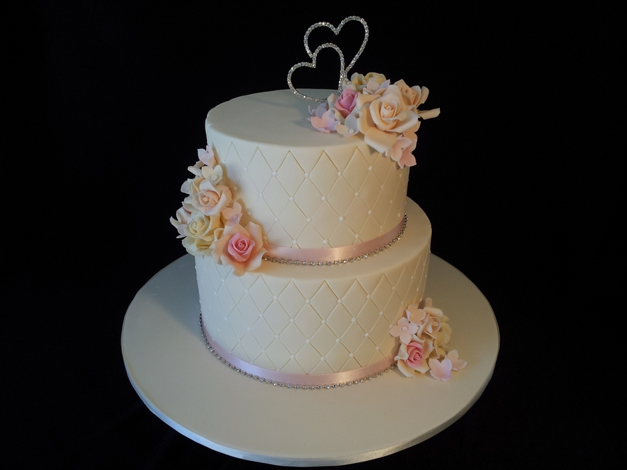Pink/ivory Wedding Cake on Cake Central