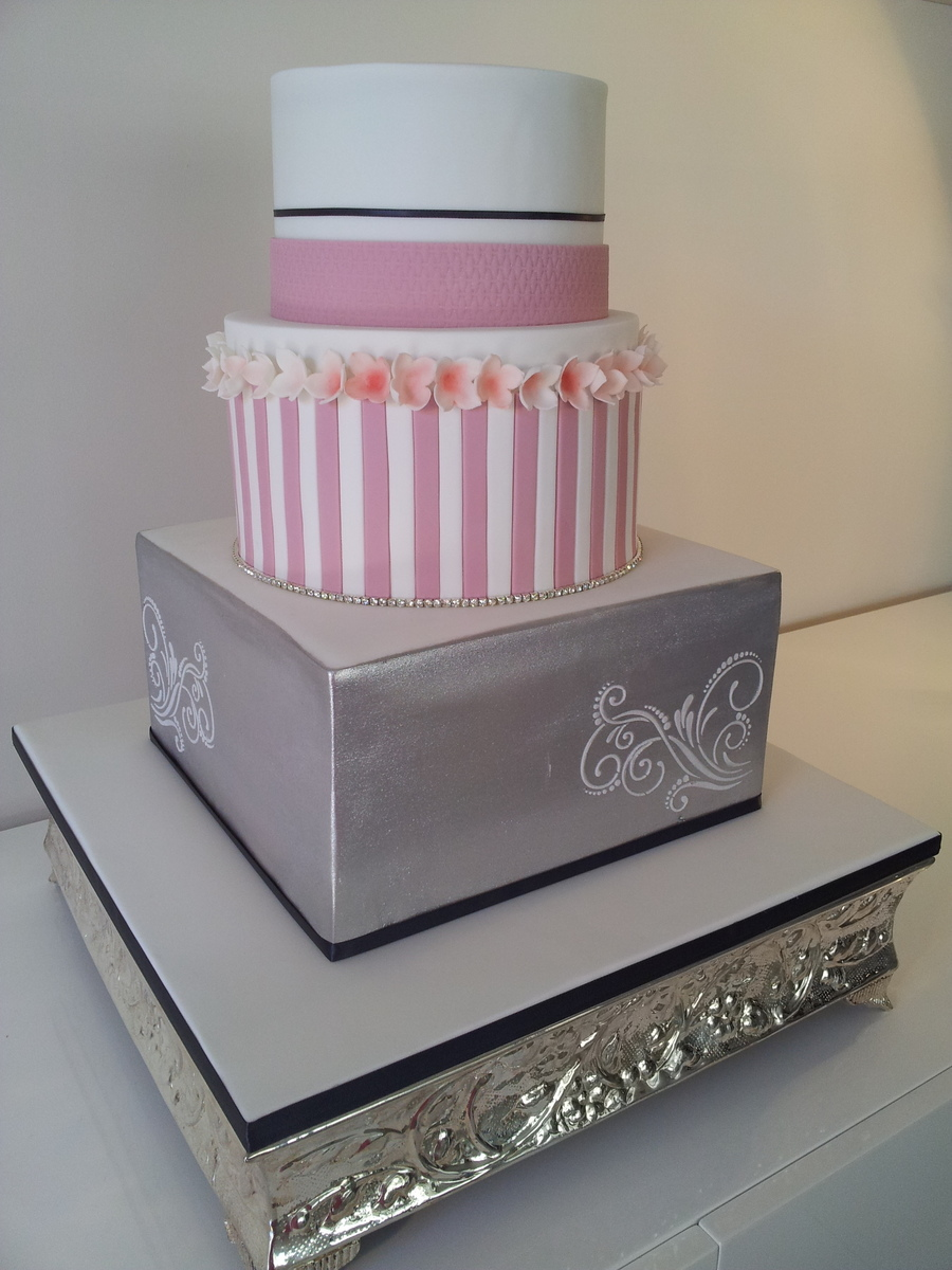 dusty pink and silver wedding cake silver amp dusty pink wedding cake cakecentral 13795