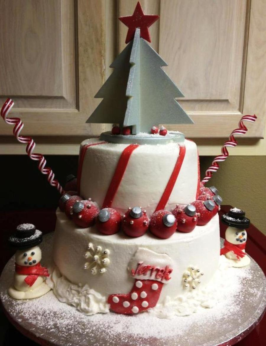 Christmas Cake With Chocolate Christmas Tree And Cakeball Ornaments And Snowmen on Cake Central
