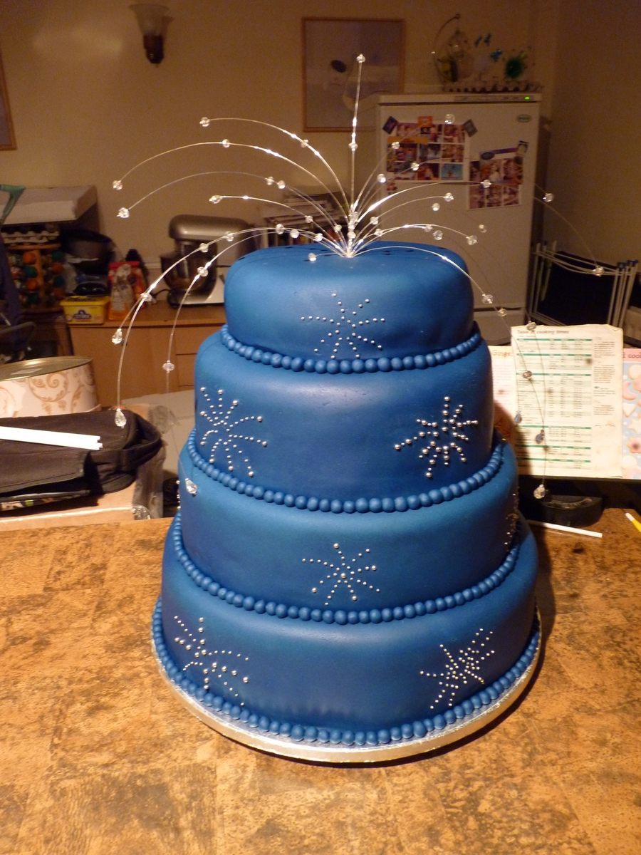 Firework Theme Wedding Cake on Cake Central