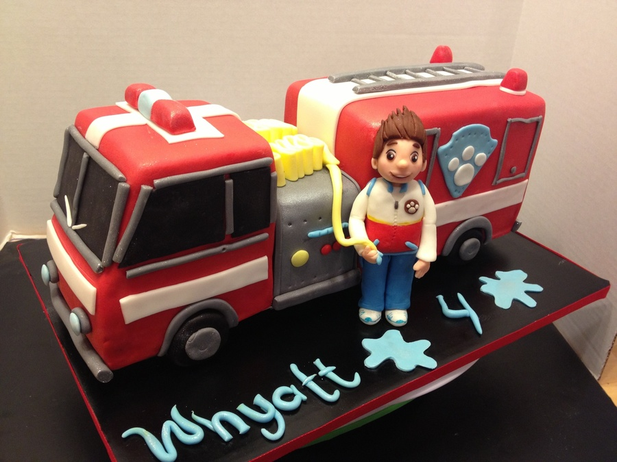 Paw Patrol Fire Truck Cake With Ryder Cakecentral Com