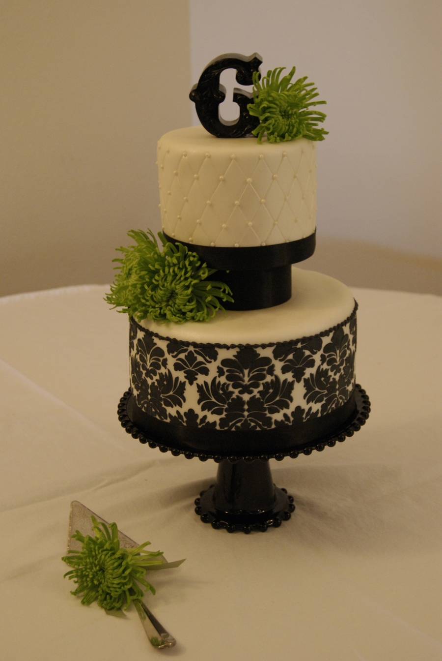 Demask Wedding Cake on Cake Central