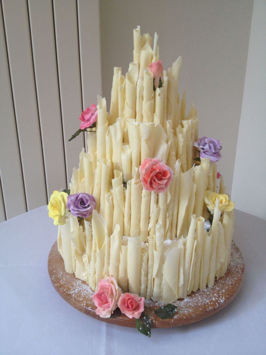 White Chocolate Cigarello Wedding Cake on Cake Central