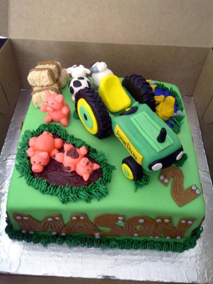 Images Of Tractor Birthday Cake : John Deere Tractor Cake - CakeCentral.com