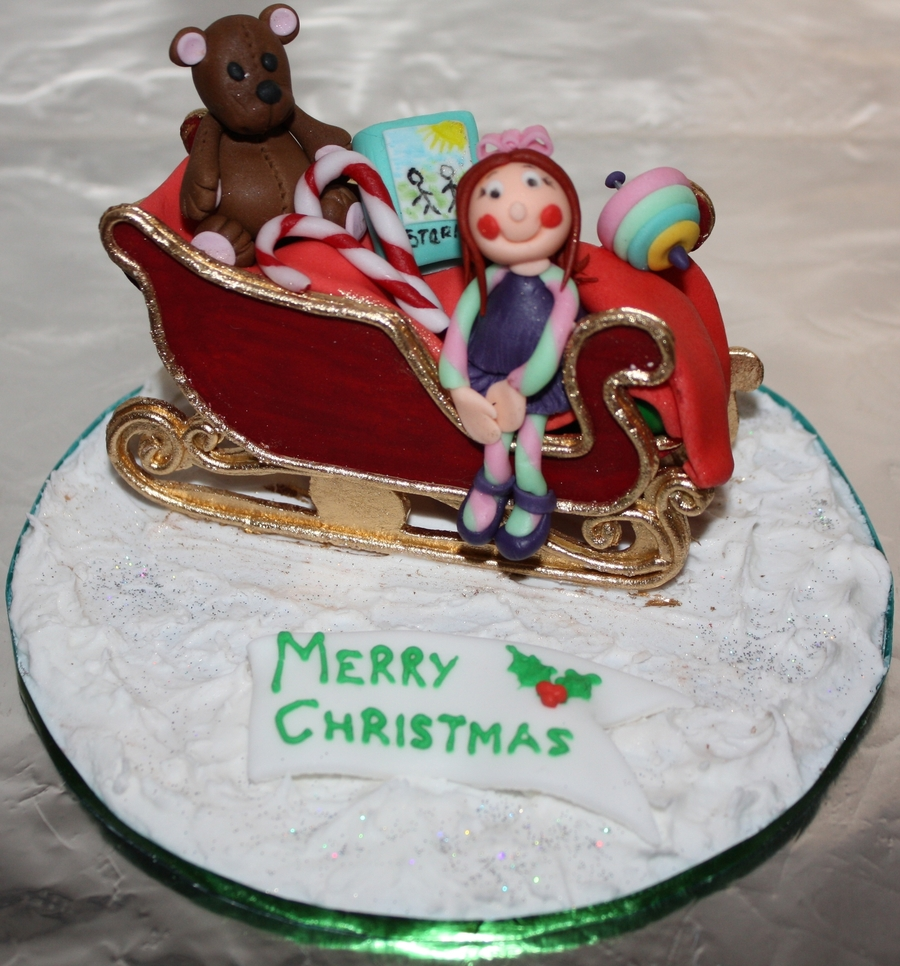 Sleigh Christmas Cake Topper on Cake Central