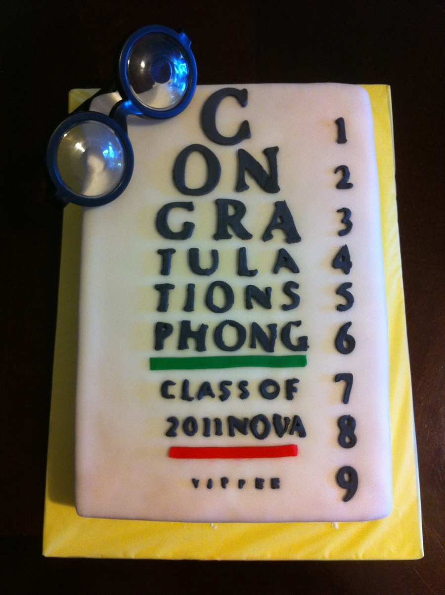 Optometry Eye Exam Chart Graduation Cake on Cake Central