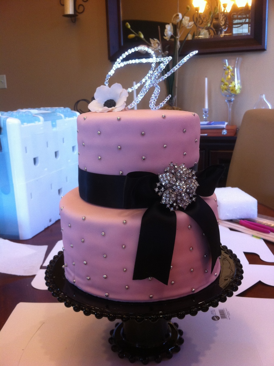 Pink Baby Shower Cake With Diamonds