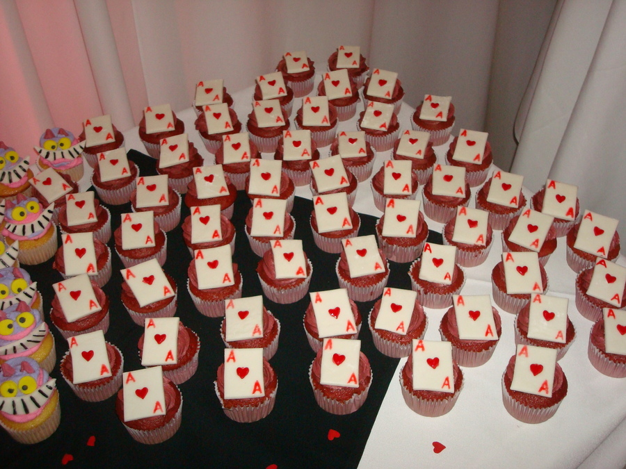 Alice In Wonderland Wedding Ace Of Heart Cupcakes on Cake Central