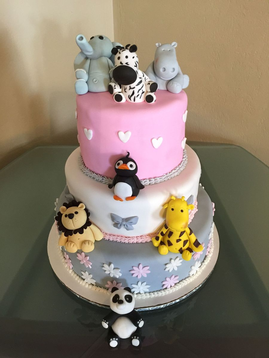 Baby Shower Zoo Cakes ~ Zoo themed baby shower cake cakecentral