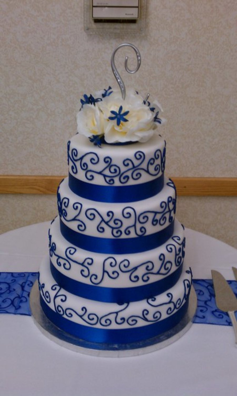 Blue Scroll Wedding Cake on Cake Central