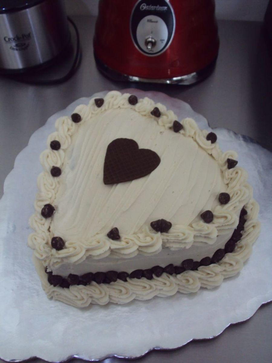Chocolate Cake With Buttercream Frosting Chocolate Fondant Heart And Chocolate Chips on Cake Central