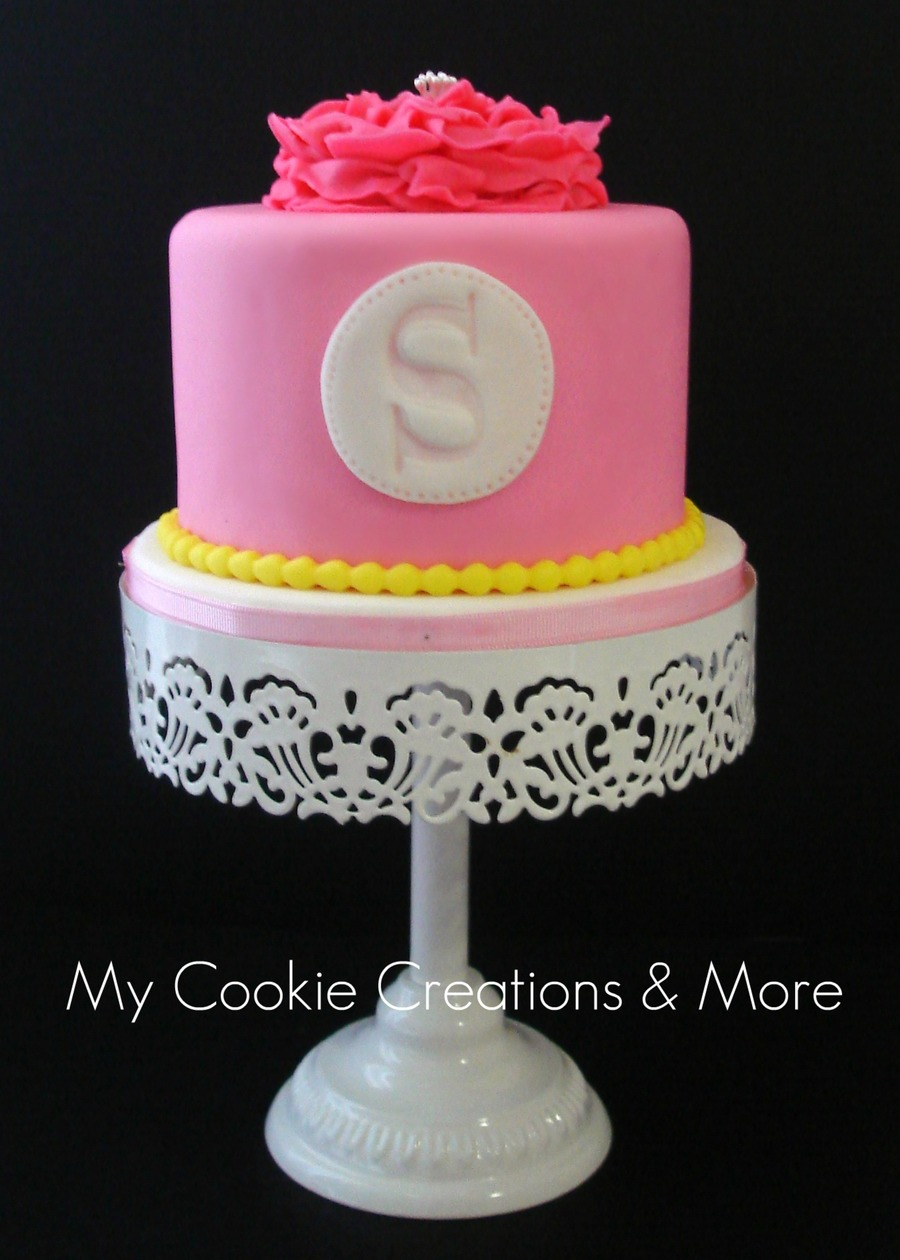 Sensational Pink And Yellow Birthday Cake Cakecentral Com Funny Birthday Cards Online Ioscodamsfinfo