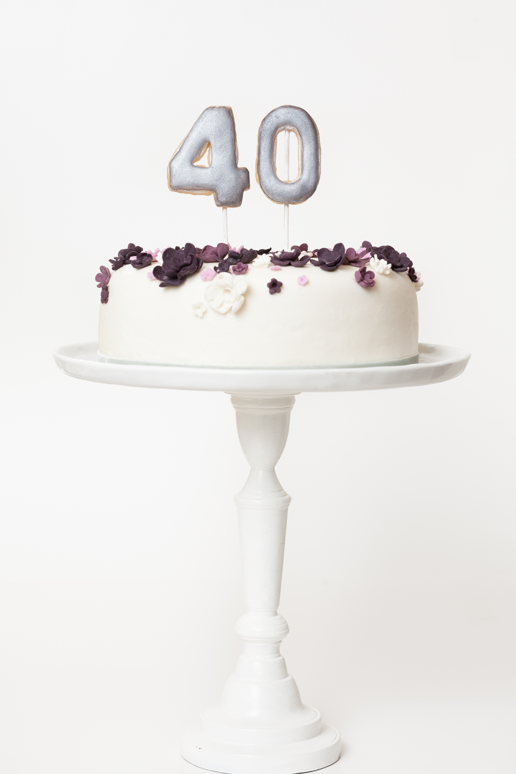 Violet Floral Crown Inspired 40th Birthday Cake