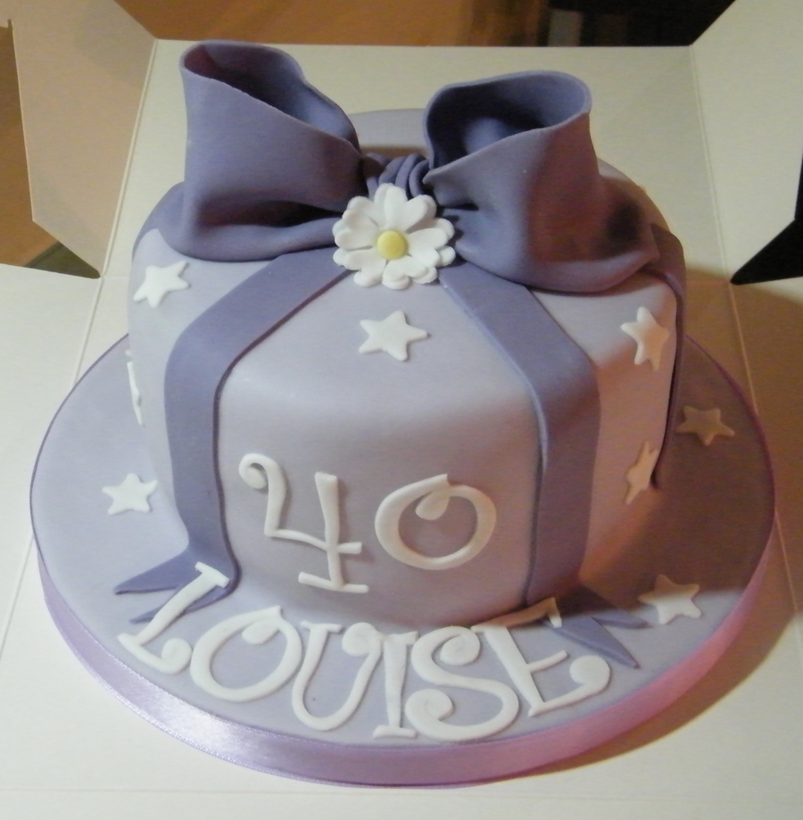 Purple Bow  on Cake Central