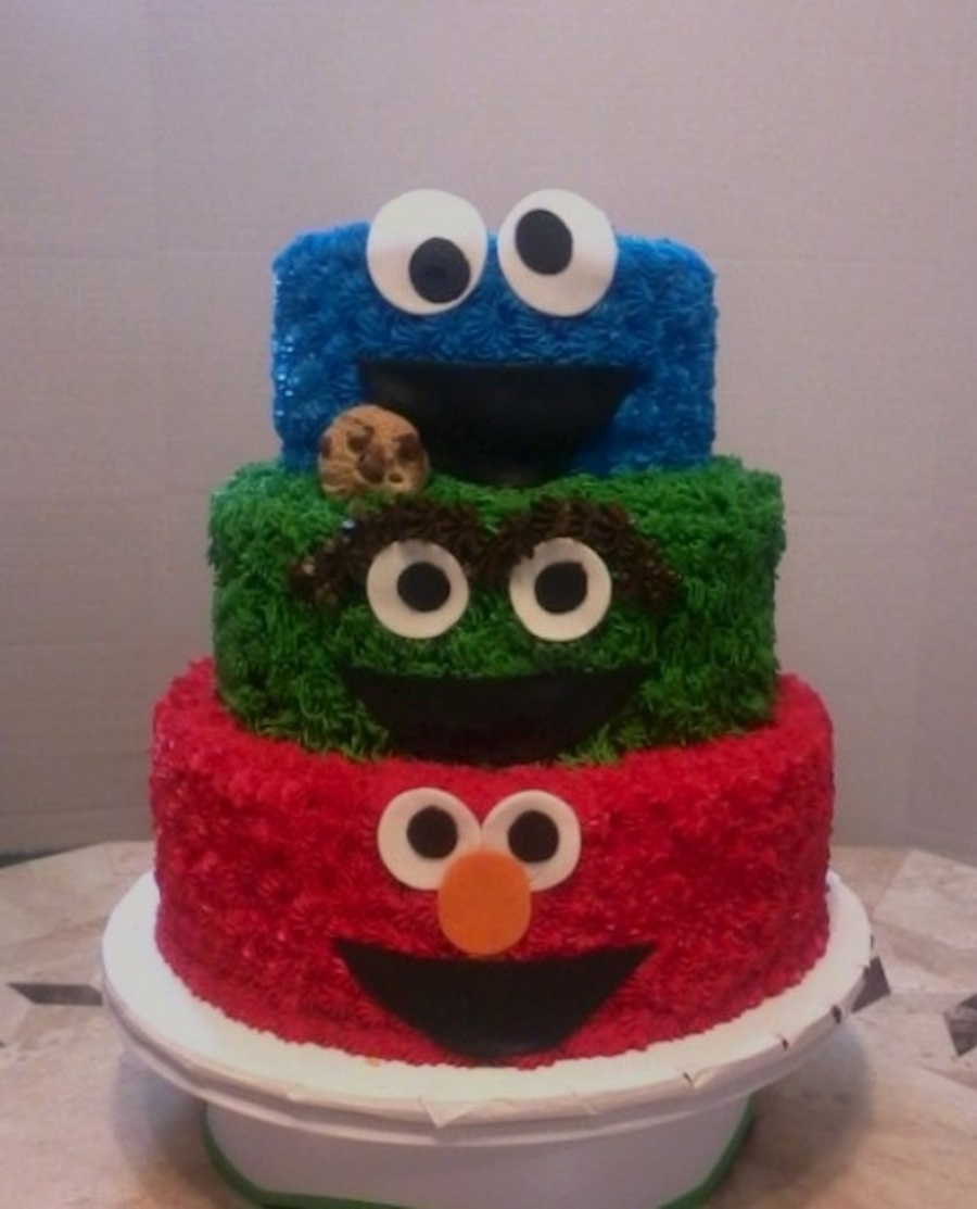 Sesame street birthday for Cute simple cakes