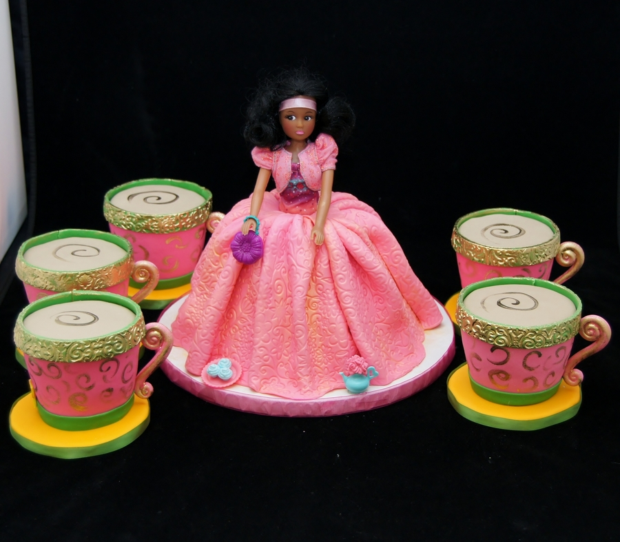 Princess Tea Party Doll Cake And Tea Cup Cakes