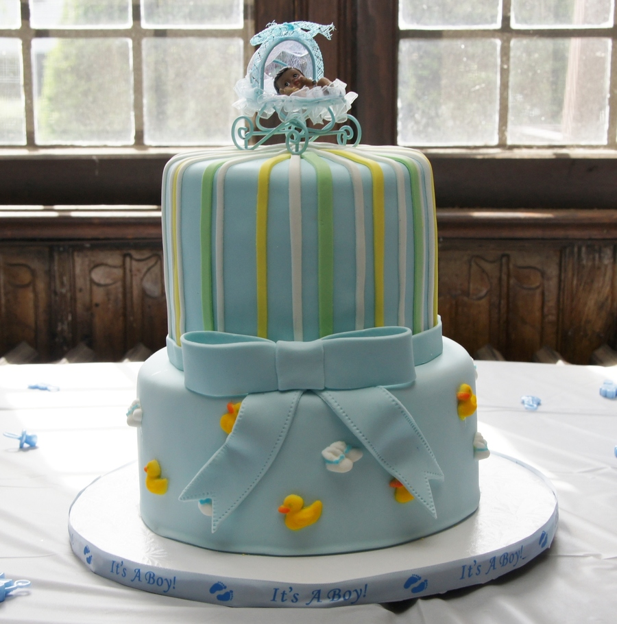 Blue Baby Shower Cake With Stripes And Bow on Cake Central