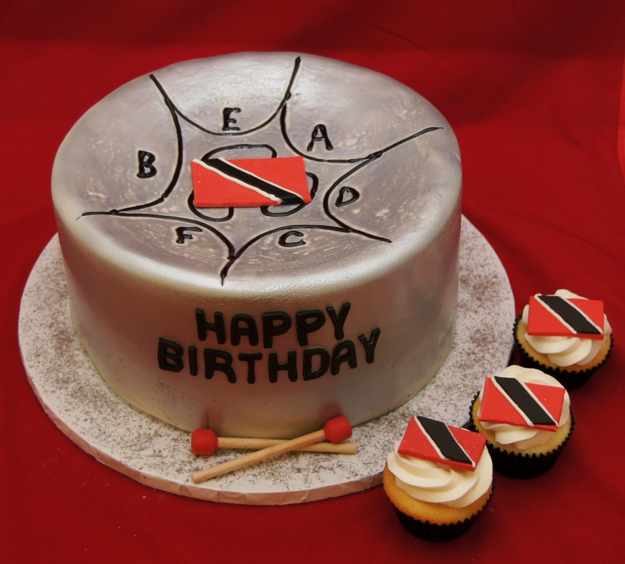 Steel Pan Cake And Cupcakes With Trinidad Flag on Cake Central