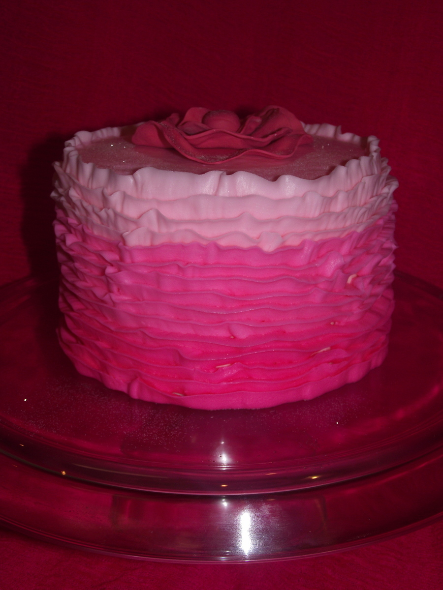 Pink Ombre Buttercream Ruffle Cake!  on Cake Central