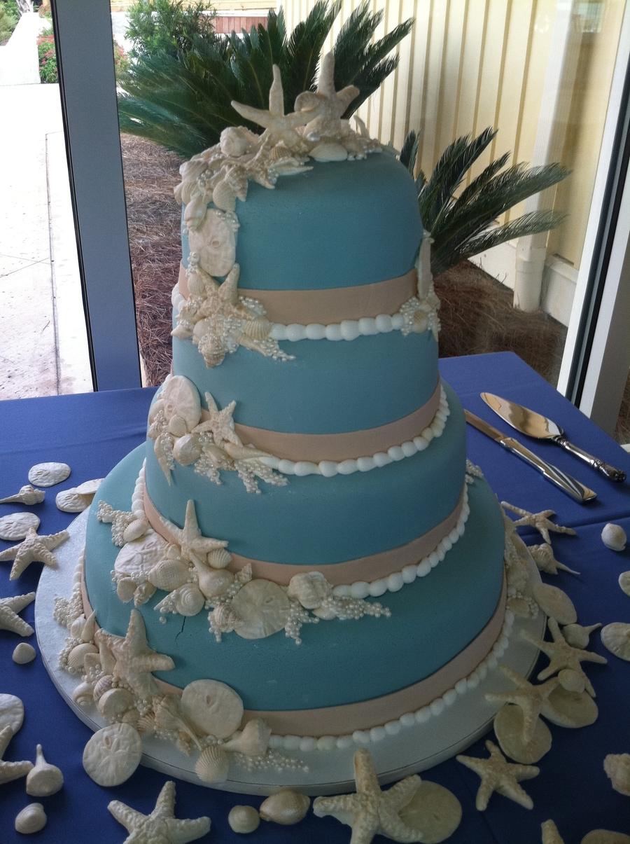 Wedgewood Blue Seashell Wedding Cake On Central