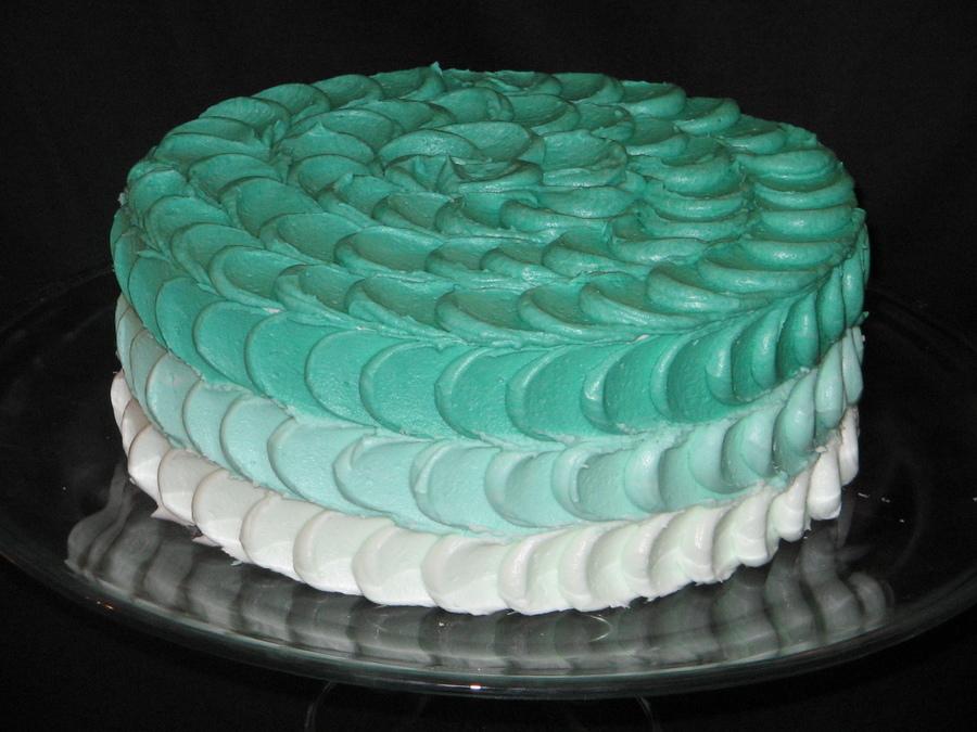 Gradient Teal Petal Cake Cakecentral Com