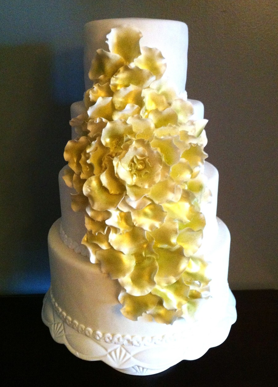 Big Flower In Gold Wedding Cake on Cake Central
