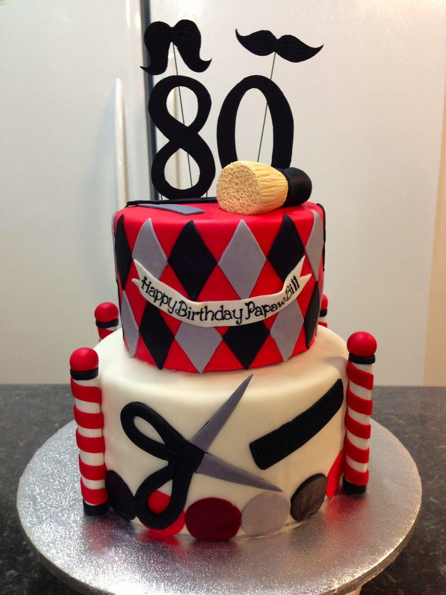 Birthday cake for a barbers 80th birthday for Salon cake design