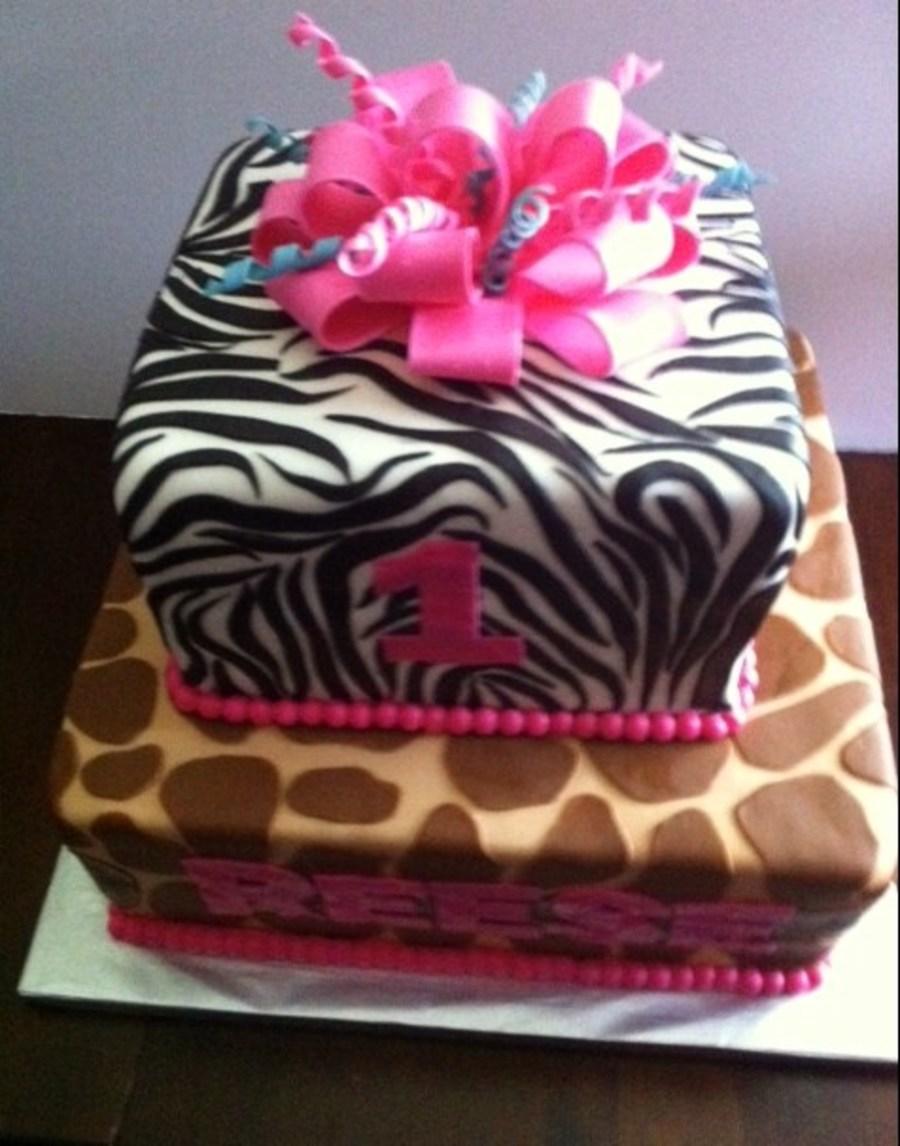 Zebra And Giraffe Print Square Cakes CakeCentralcom