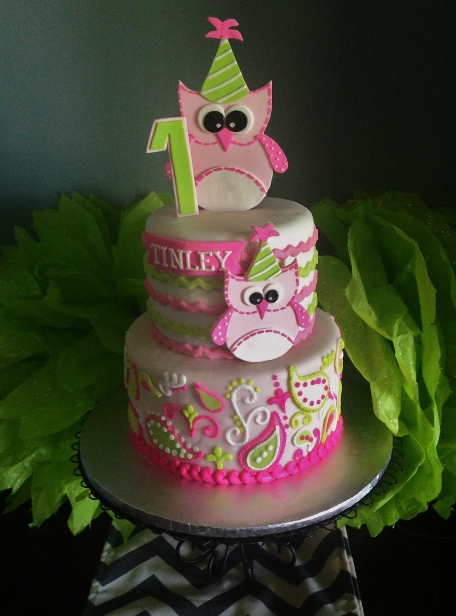 Owl 1st Birthday Cake Fondant With Piped Buttercream Paisley Owls