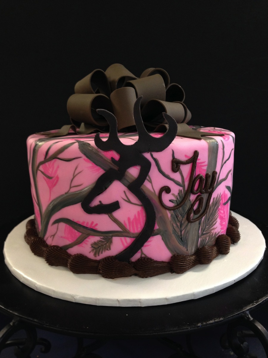 real tree pink camo cake with browning symbol i hand