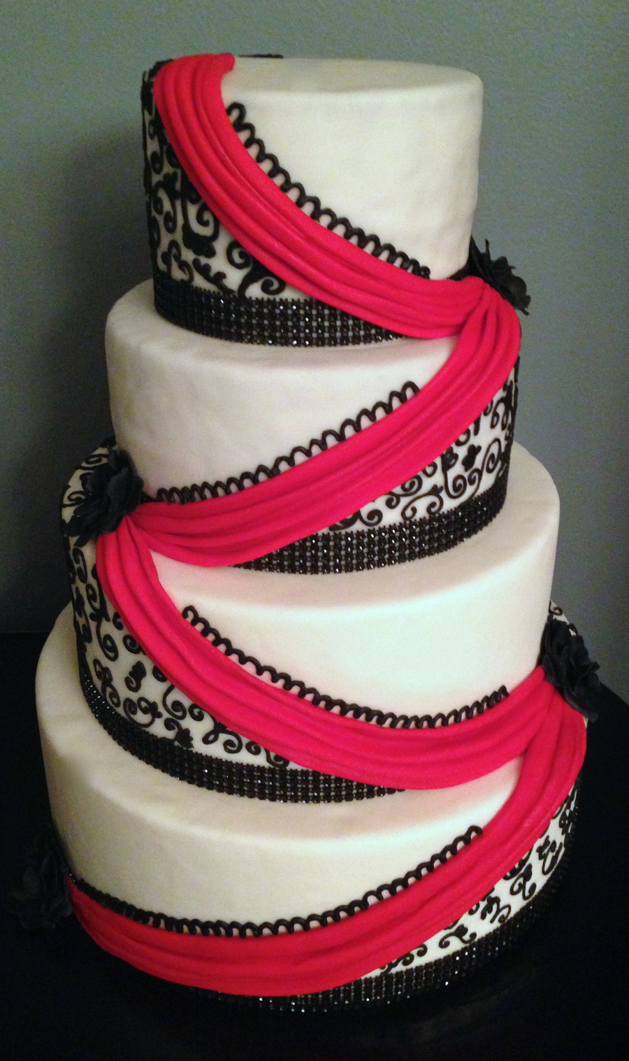Red and Black swirls   That's My Cake!   Affordable Wedding Cakes Black And Red