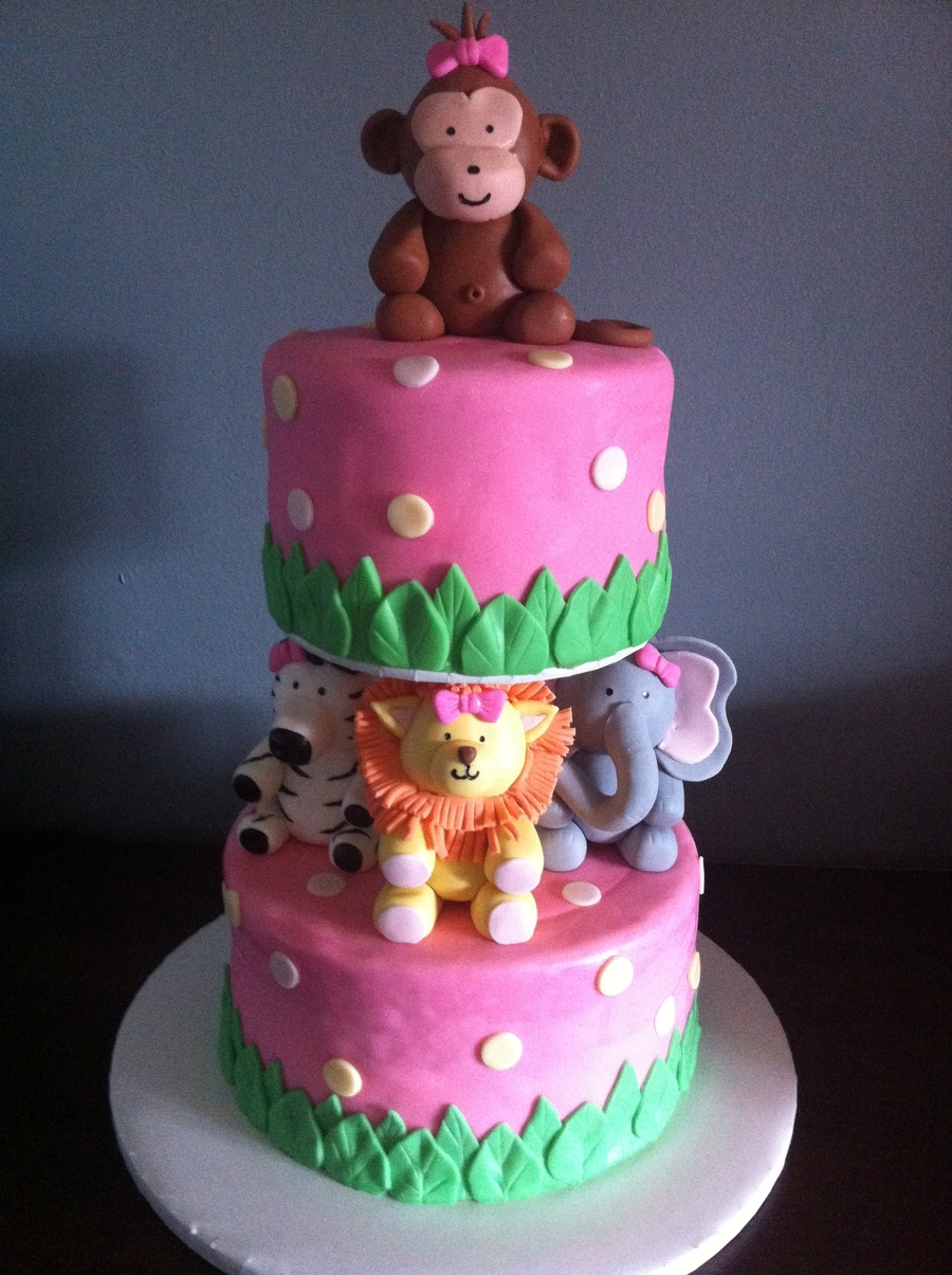 Animal Baby Girl Shower Cake  on Cake Central