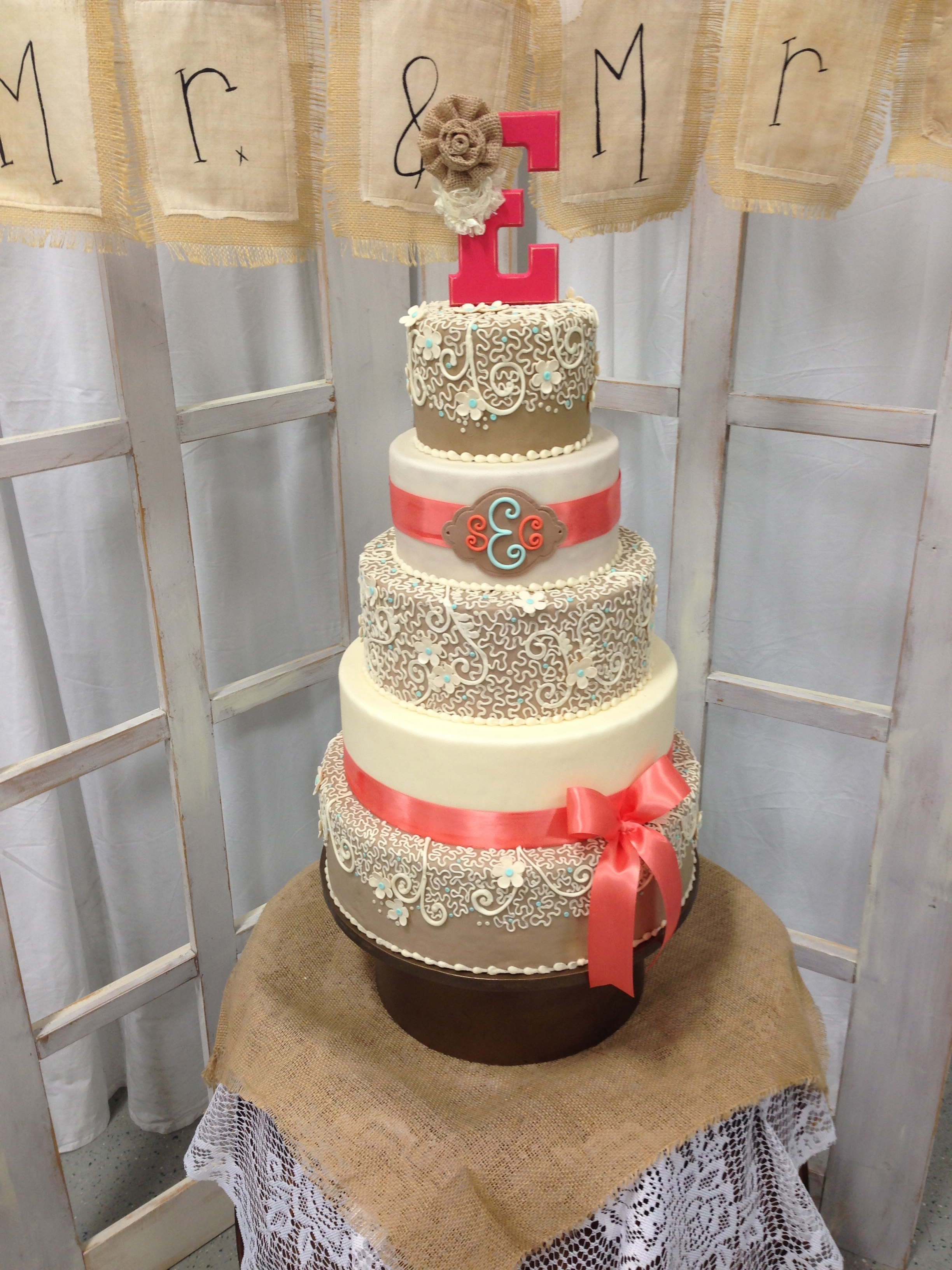 Burlap And Coral Wedding Cake Cakecentral Com