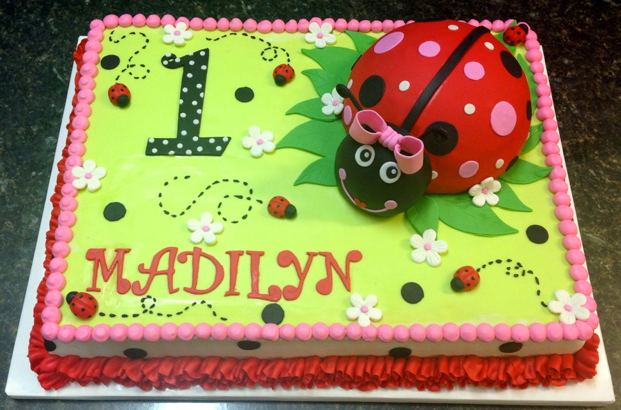 Awe Inspiring Lady Bug First Birthday Cake Cakecentral Com Personalised Birthday Cards Sponlily Jamesorg