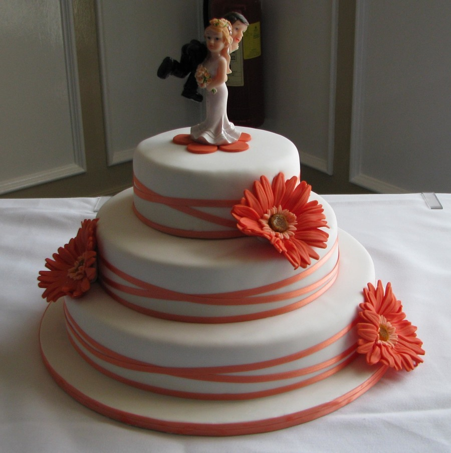 Wedding Cake With Coral Gerberas on Cake Central
