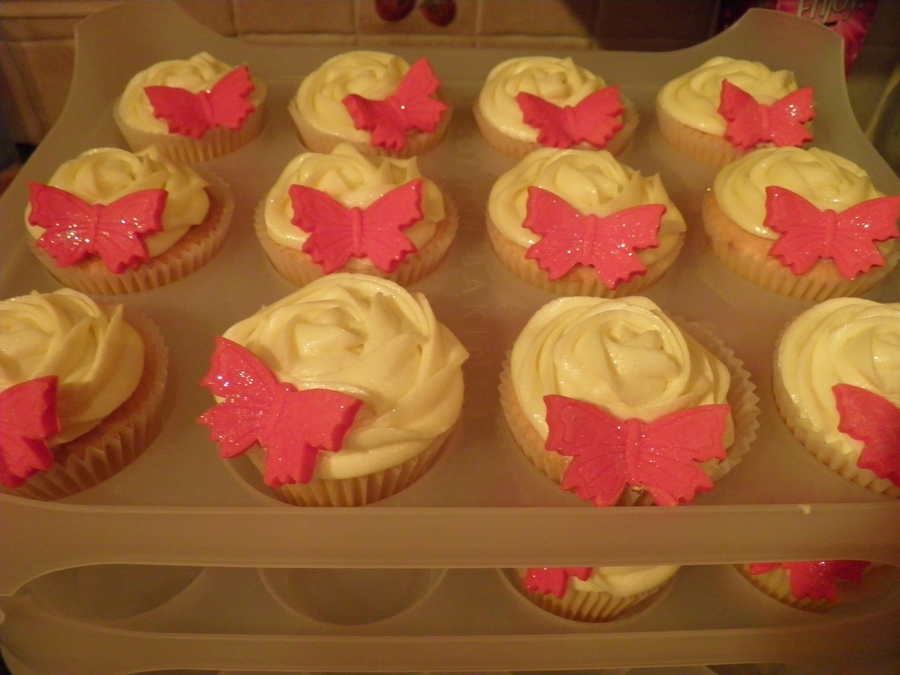 Glittery Butterfly Cupcakes :)  on Cake Central